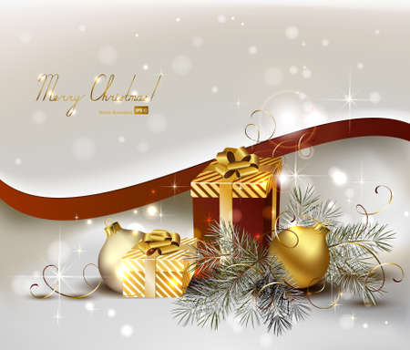 light Christmas background with gold evening balls and gifts  Vector