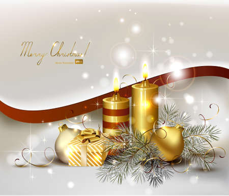 waxen: light Christmas background with burning candles and Christmas gift