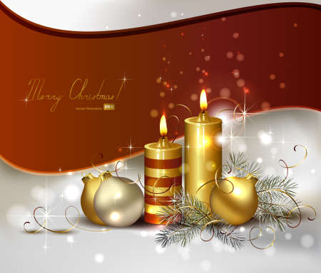 waxen: Christmas background with burning candles and Christmas bauble