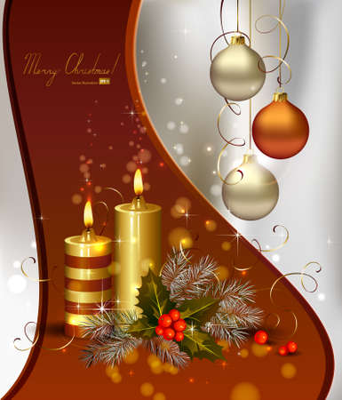 light Christmas background with burning candles and Christmas bauble  Vector