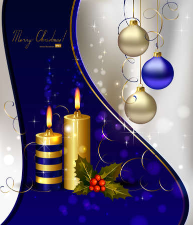 christmas backdrop: light Christmas background with burning candles and Christmas gift