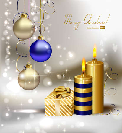three wishes: light Christmas background with burning candles and Christmas gift