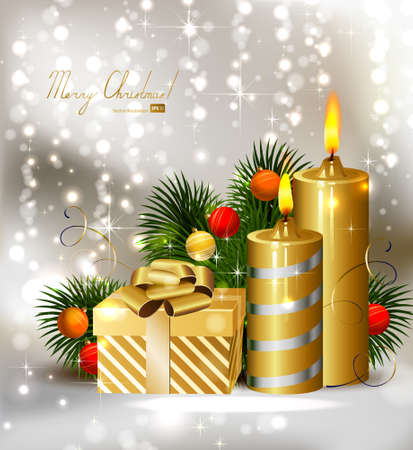 Christmas background with burning candles and Christmas bauble Stock Vector - 14548657