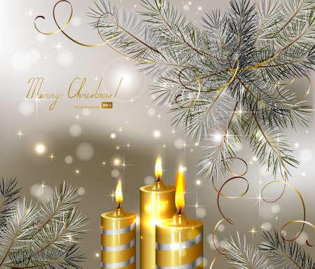 lichte Kerst achtergrond met brandende kaarsen en fir-boom