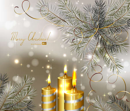 wish: light Christmas background with burning candles and fir-tree