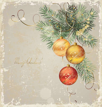 vintage Christmas greeting-card with three evening balls  Vector