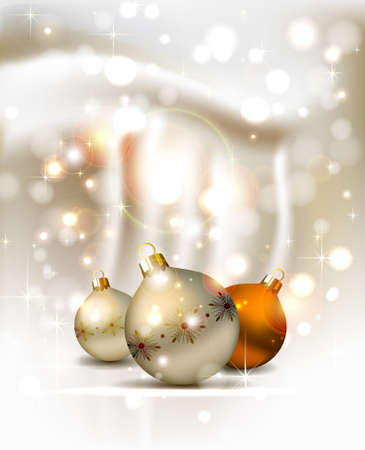 congratulate: elegant glimmered Christmas background with three evening balls