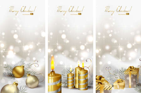 waxen: set of three Christmas greeting-cards with burning candles and Christmas gifts