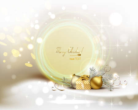 light Christmas background with two evening balls and gift  Vector