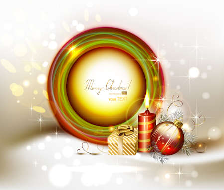 evening ball: bright Christmas frame with evening ball, gift and burning candle  Illustration