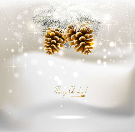 light Christmas background with two cones and fir tree  Vector