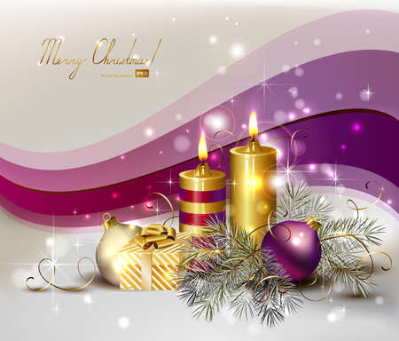 violet purple: light Christmas background with burning candles and Christmas gift