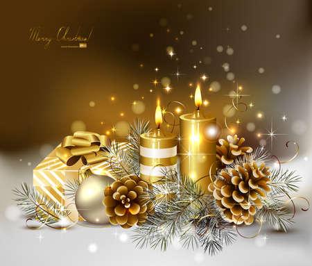 kerzen: Weihnachten Hintergrund mit brennenden Kerzen und Christbaumkugeln