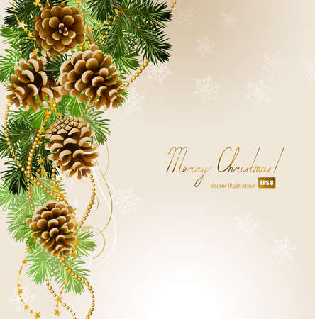pine cone: light Christmas background with vitality cones and fir tree  Illustration