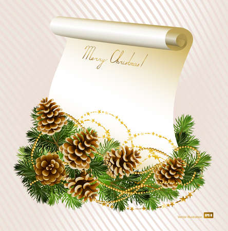volute: light Christmas background with vitality cones , fir tree and paper