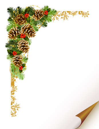 christmas holiday background: Christmas fir tree with cones formed corner