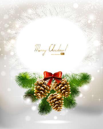 pomme de pin: la lumière de Noël de fond avec trois cônes et sapin