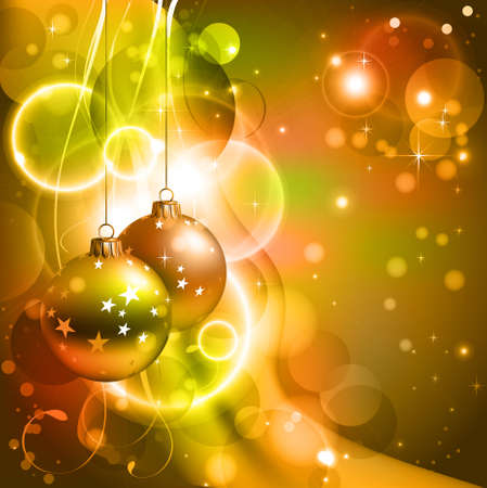 Bright Christmas background with two evening balls  Vector