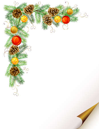festive pine cones: Christmas background with fir tree, cones and evening balls formed corner