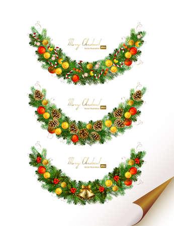 Navidad vector conjunto de tres guirnalda con el árbol de abeto, bolas de la noche y las campanas de año nuevo