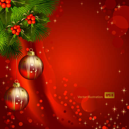 evergreen: red Christmas background with fir tree and evening balls