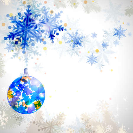 Christmas background with abstract winter snowflakes  Stock Vector - 14580278
