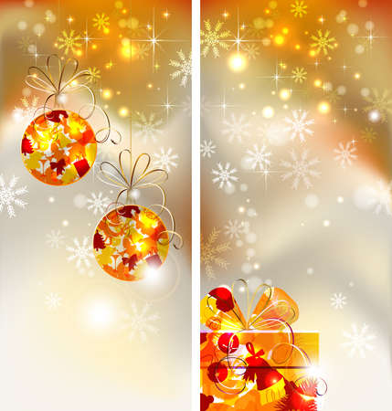 Set of two greeting-cards of Bright Christmas background with two evening balls and gift  Vector