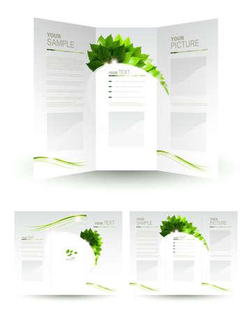 �cologie: conception du livret �co avec la branche de feuilles vertes fra�ches