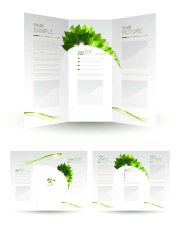 ecology: design of eco booklet with branch of fresh green leaves  Illustration