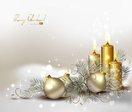 Christmas background with burning candles and Christmas bauble Stock Vector - 14580016