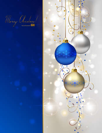 glimmered Christmas background with three evening balls   Vector