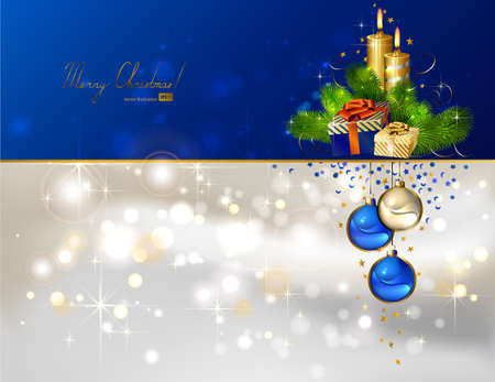 light Christmas background with burning candles and Christmas gift  Vector