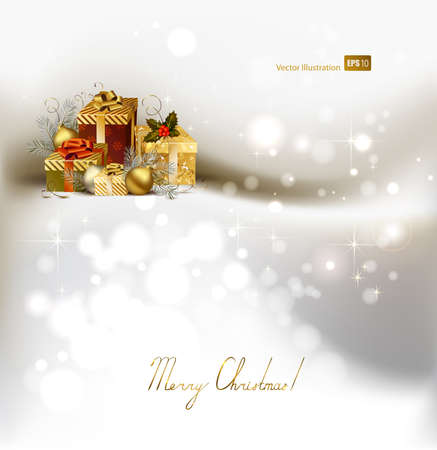 winter wish: light Christmas background with evening balls and gifts  Illustration