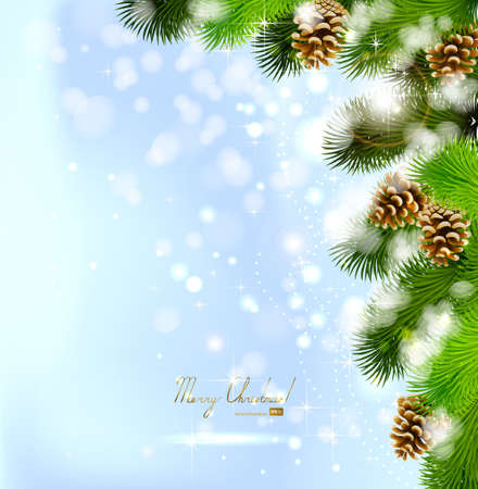 Christmas background with fir tree and cones  Vector