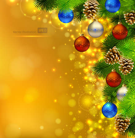 bright Christmas background with fir tree, candies and evening balls  Vector
