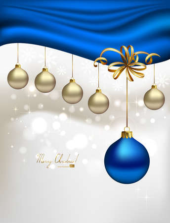 glimmered Christmas background with evening balls and blue special ball  Vector