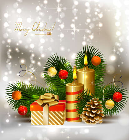greeting card backgrounds: Christmas background with burning candles and Christmas bauble
