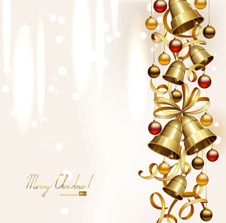 congratulate: festive bells with small balls on the Christmas background