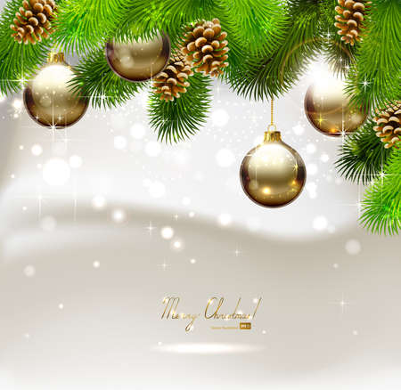 pine cone: Christmas background with fir tree, cones and evening balls