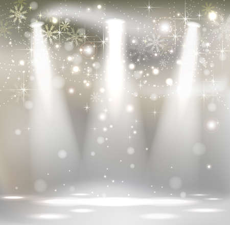 december: light Christmas Stage Spotlight with snowflakes