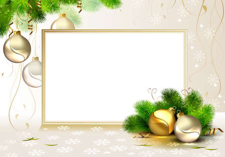shine Christmas background with evening balls and fir tree
