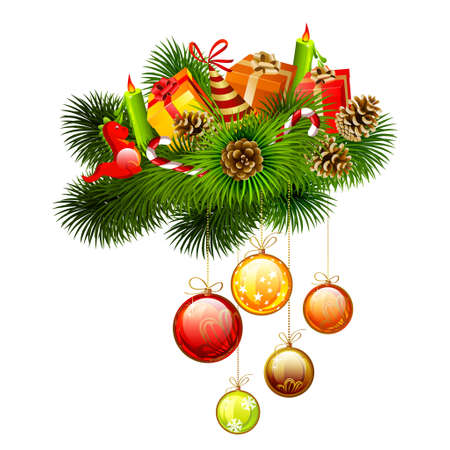 Christmas branches of fir-tree with gift and candles, candies on it  Vector