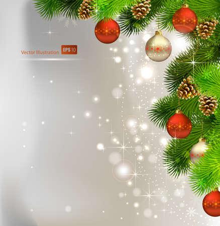 pomme de pin: Fond de Noël avec sapin, les cônes et le soir boules