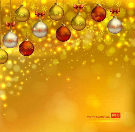 bright glimmered Christmas background with shine evening balls  Vector
