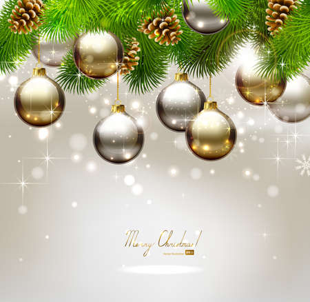 Christmas background with fir tree, cones and evening balls  Vector