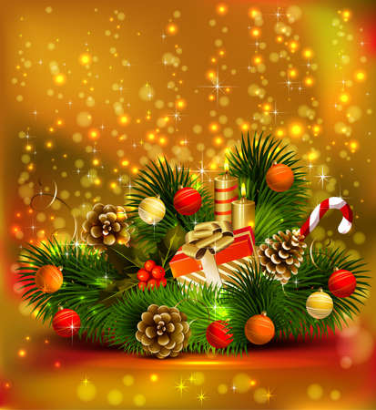 Christmas still life branch of fir tree with burning candles and Christmas bauble Stock Vector - 14580047