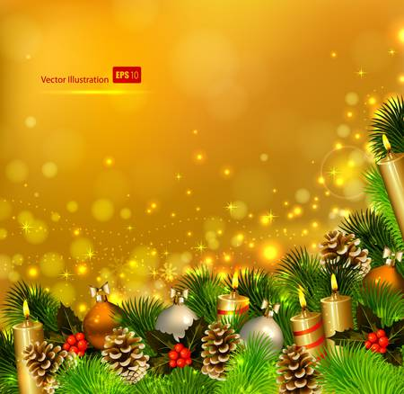 waxen: Christmas background with burning candles , fir tree and Christmas bauble  Illustration