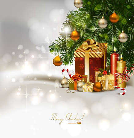 waxen: Christmas background with burning candles and Christmas gifts under the fir tree  Illustration