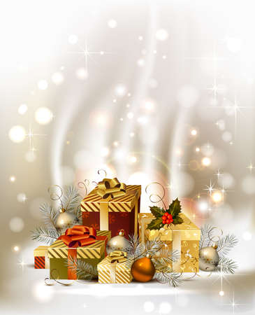 glimmered: Christmas background with baubles and Christmas gifts