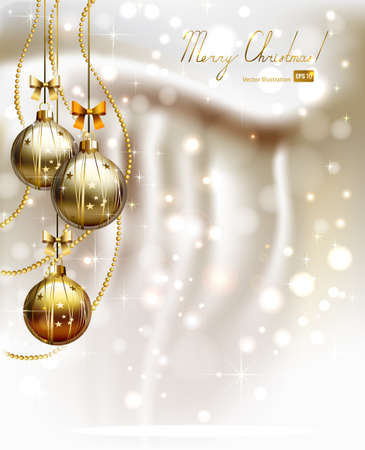 three wishes: glimmered Christmas background with three evening balls